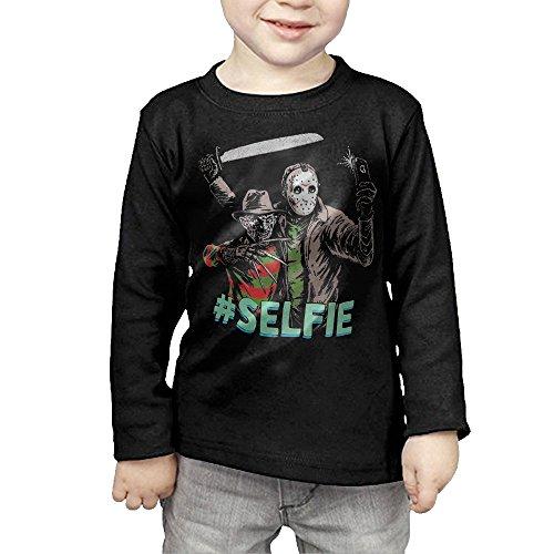 Kids Freddy Krueger VS Jason 13th Friday #Selfie Long Sleeve T-Shirts Black -