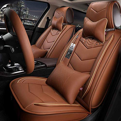 LNDDP Easy To Clean Leather Car Seat Cushion 5 Seats Full Set - Non-Slip Suede Backing Universal Fit Seat Cover Compatible with Fabric,Brown: Sports & Outdoors