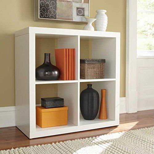 4 Cube Bookcase Decorative Modern Square Wood Organizer Furniture (White)