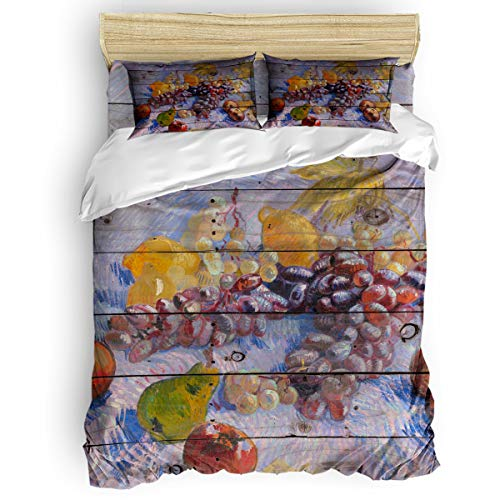(4 Piece Duvet Cover Set Kids Bedding Set Bedroom Collection,Vincent Van Gogh - Grapes,Lemons,Pears,And Apples Soft Child Bed Sheet Set,Include 1 Duvet Cover 1 Bed Sheets 2 Pillow Cases Twin Size)