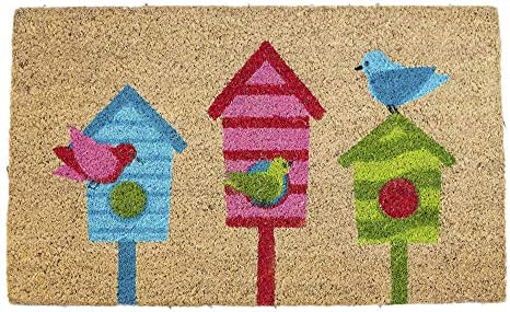 Avera Products Bird House Trio Natural Coir Fiber Doormat, Anti-Slip PVC Mat Back