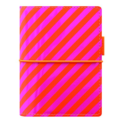 Pen Pink Filofax (Filofax 2018 Domino Organizer, Pocket (4.75 x 3.25), Patent Orange/Pink Stripes, Planner with to do and contacts refills, indexes and notepaper (C022576-18))