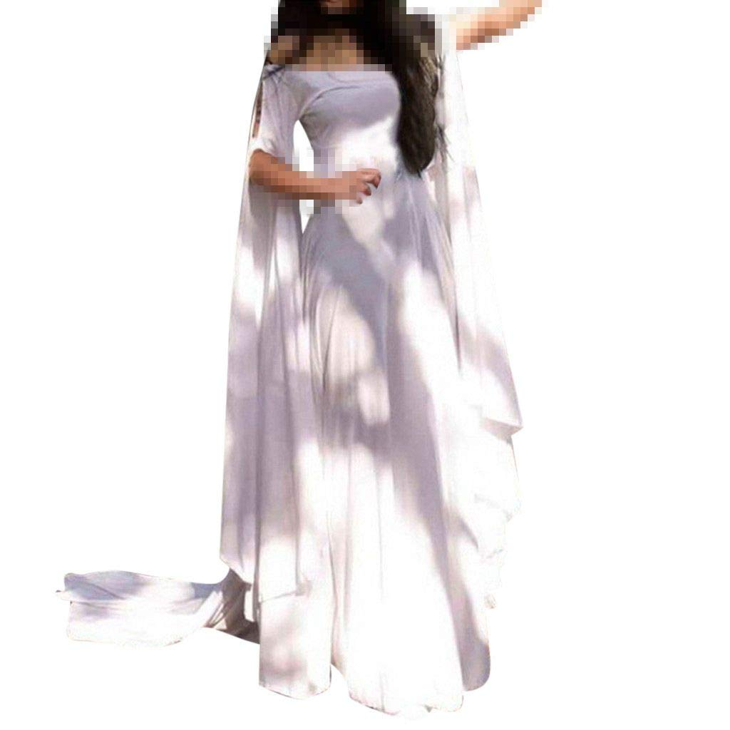 Sunyastor Renaissance Costumes Dress for Women Trumpet Sleeves Fancy Medieval Gothic Off Shoulder Cosplay Gown Dress White by Sunyastor Women Dresses