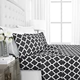 Egyptian Luxury 1800 Hotel Collection Quatrefoil Pattern Bed Sheet Set - Deep Pockets, Wrinkle and Fade Resistant, Hypoallergenic Printed Sheet and Pillow Case Set -King - Gray