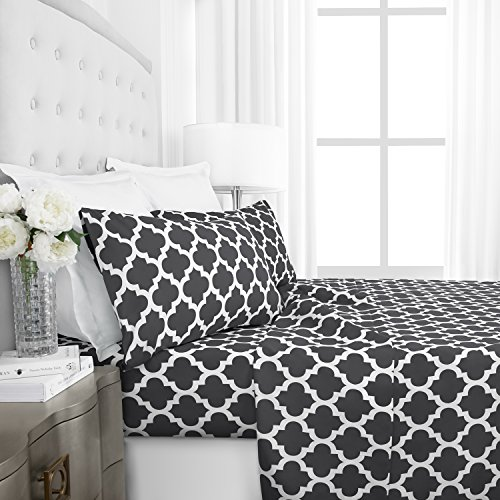 Egyptian Luxury 1800 Series Hotel Collection Quatrefoil Pattern Bed Sheet Set - Deep Pockets, Wrinkle and Fade Resistant, Hypoallergenic Printed Sheet and Pillow Case Set - Twin - Gray (Gray Pattern)