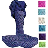 DDMY Mermaid Tail Blanket Adult Crochet Mermaid Tail Blanket Seasons Mermaid Blanket Adult Warm Soft Living Room Quilt Sleeping Bag Best Birthday Christmas gifts For Kids Adult (A-Green)