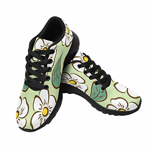 InterestPrint Womens Trail Running Shoes Jogging Lightweight Sports Walking Athletic Sneakers Small White Flowers and Leaves Multi 1 1UQBlN