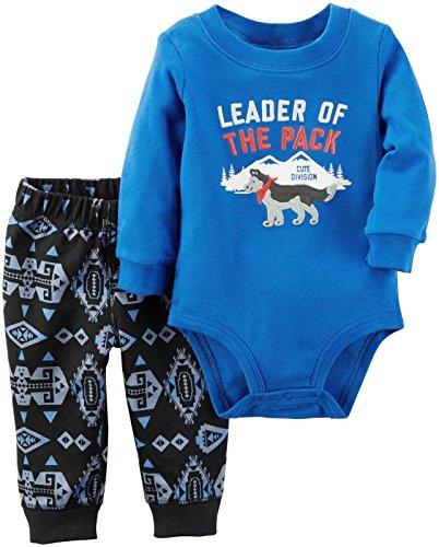 Carter's Baby Girls' Bodysuit Pant Sets 121g845, Wolf Blue, (Brown 6 Month Supply)