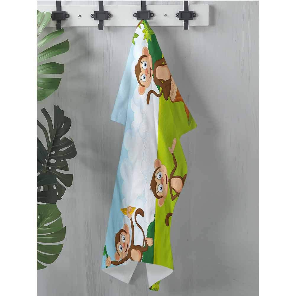 dsdsgog Pattern Hand Towels Nursery,Three Monkeys Safari,W12 xL28 Hooded Beach Towel for Girls