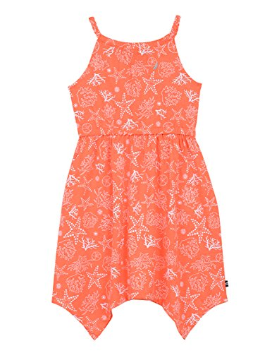 Nautica Girls' Big Spaghetti Strap Fashion Dress, Light Orange Print, 10