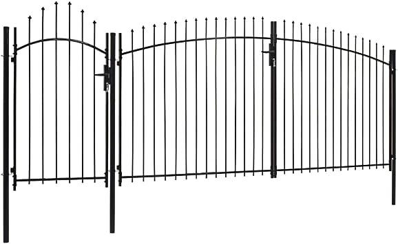 Abschlie/ßbar Stahl 1 x 1,5 m Schwarz Festnight Gartentor mit Gew/ölbter Spitze Hoftor Zaunt/ür Tor Gartent/ür