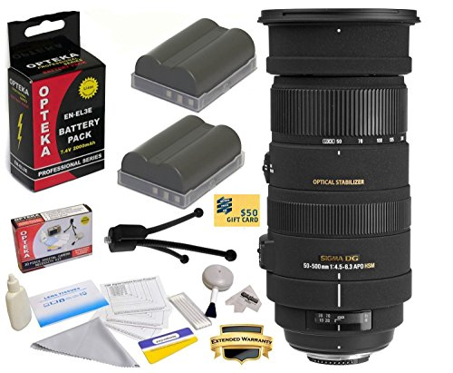 - Sigma 50-500mm f/4.5-6.3 APO DG OS HSM Lens (738306) With 3 Year Extended Lens Warranty For the Nikon D700 D300S D300 D200 D100 D90 D80 D70 D70s D50 - Includes 2 Replacement Nikon EN-EL3E Batteries 2000MAH Each 4000MAh in Total + Deluxe Lens Cleaning Kit + LCD Screen Protectors + Mini Tripod + 47stphoto Microfiber Cloth Photo Print !