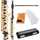 Cecilio PO-200BK Key of C Piccolo with Gold Keys - Black