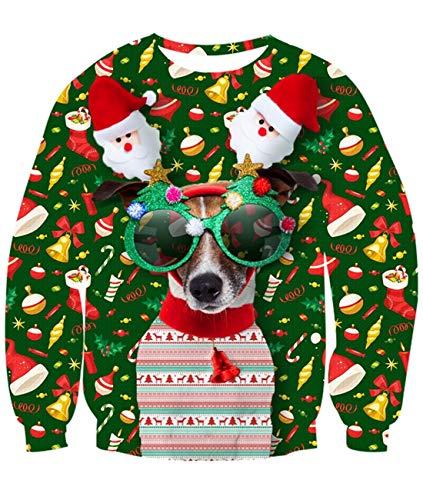Idgreatim Mens Women Ugly Christmas Pullover Sweatshirt Novelty Dog Long Sleeve T-Shirt Tops XL (Christmas Dogs Jumpers)