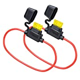 MUYI 2 Set Standard Blade Fuse Holder 14 Gauge Waterproof Pigtail Inline Fuse Holder with ATC Fuses