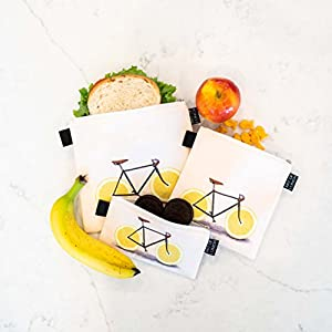 Designer Lunch Bags for Men & Women, Boys & Girls, Insulated, Fashionable, Reusable, Snack & Sandwich Bags w Zipper - Design by Florent Bodart (France) - Zest
