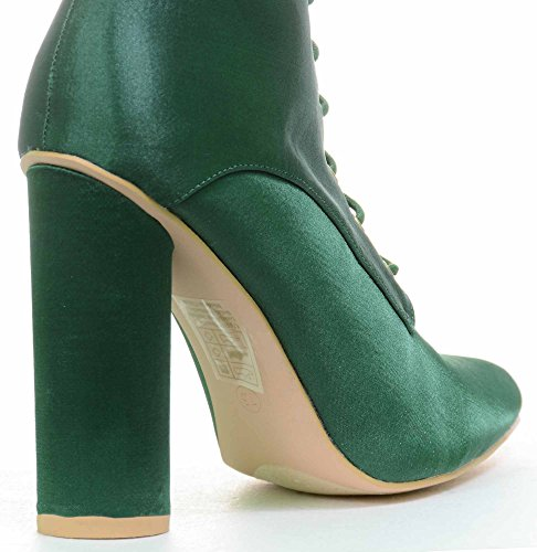 Pointy Lace Green Vegan Toe Women's Boots Up Midcalf Satin aqdx7wFd