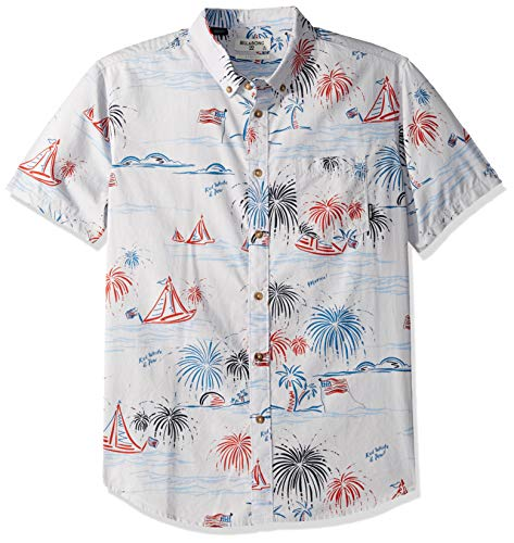 Billabong Men's Sundays July Short Sleeve Shirt Light Grey Medium