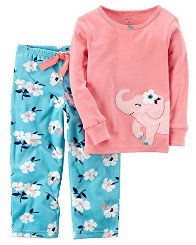 Carter's Girl's 2-Piece Fleece Pajamas Top and Pants Set (Pink Elephant, 3T)