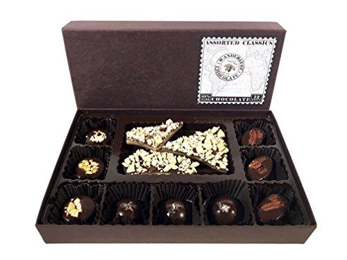 Classic Caramel Toffee (Dark Chocolate Classics Assortment - Almond Toffee, Peanut Butter Cups, Salted Caramels, Pecan Turtles, Dark Chocolate, 12 Piece Box by Wanderlust Chocolate)