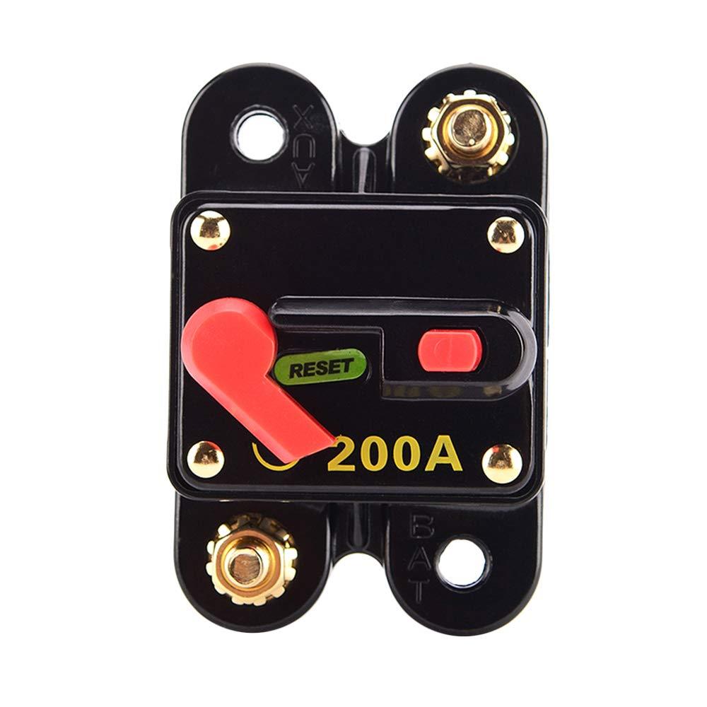 KKmoon Circuit Breaker, 200A Fuse Circuit Breaker Manual Reset Waterproof for Car Audio Marine