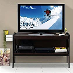 Topeakmart Rustic Ladder TV Stand Console Wood Storage Shelf Metal Legs, Espresso