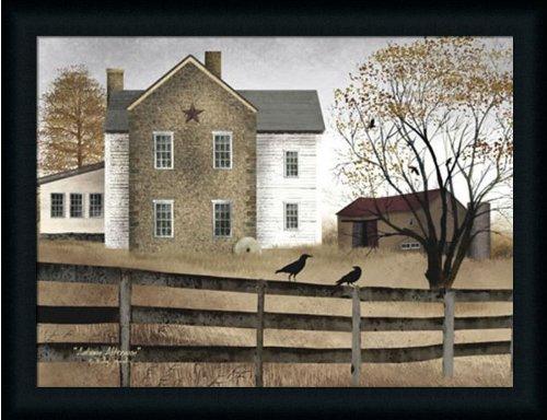 Primitive Folk Art Painting (Autumn Afternoon by Billy Jacobs Primitive Folk Art Landscape 27x21 in Framed Art Print Picture)