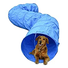 PawHut 5663-0239 16.4' 300D Oxford Portable Puppy Dog Tunnel Pet Agility Exercise Training Soft Crate, Blue