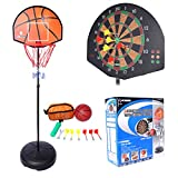 Basketball Stands PINCHUANGHUI 2-in-1 Standing Darts and Basketball Stands Kids Teenagers Goal Hoop Shooting Toy Set