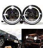 u-Box 7inch LED Headlight w/White DRL Angel Eye & Amber Turn Signal for 1997-2018 Jeep Wrangler TJ JK & Unlimited - Pair