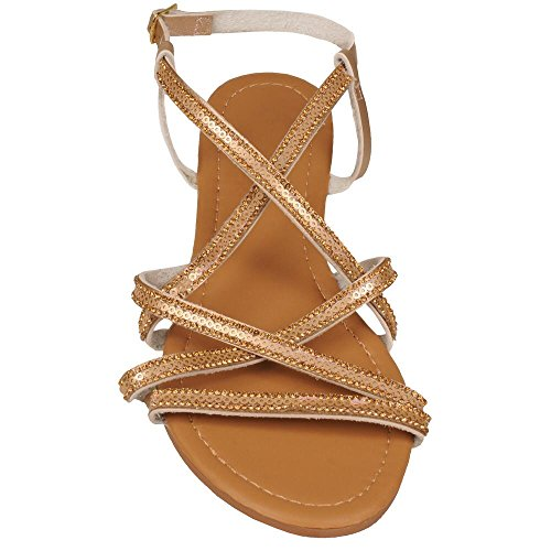 Wilsons Leather Womens Gold Criss Cross Strappy Sandal 10 Gold - Wilson Leather Shoes