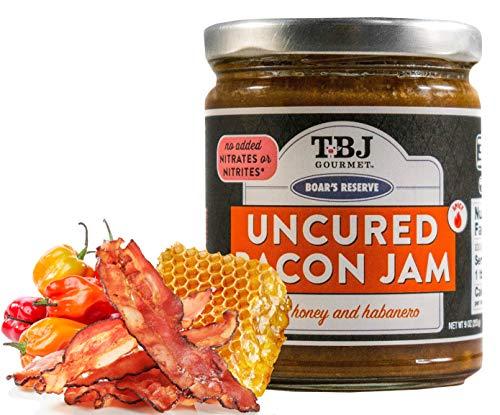 - TBJ Gourmet Honey Habanero Bacon Jam - Original Recipe Bacon Spread - Uses Real Bacon, No Preservatives - Authentic Bacon Jams - 9 Ounces