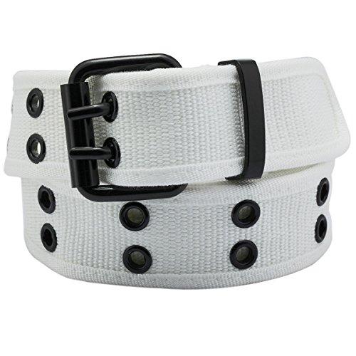 Samtree Canvas Web Belts for Men Women,Double Grommet Hole Buckle Belt(White)