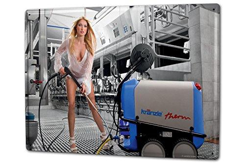 Tin Sign XXL Pin Up Adult Art milking machine - Sign Cleaning Tin
