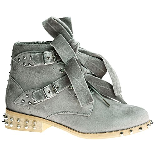 Feet First Fashion Hunter Womens Low Heel Ribbon Studded Ankle Boots Grey Faux Suede 0eYHukVe1