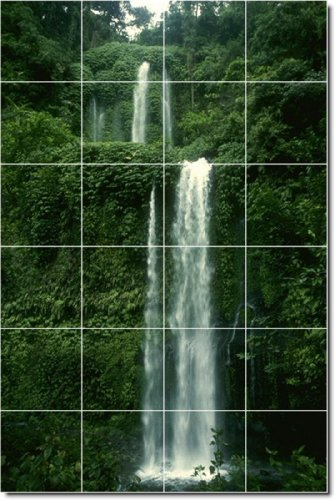 Waterfalls Photo Kitchen Tile Mural 15. 48x72 Inches Using (24) 12x12 ceramic tiles.