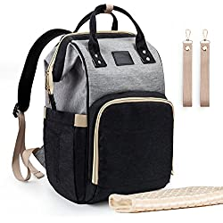 Upsimples Diaper Bag Maternity Nappy Bag Backpack Waterproof Diaper Backpack Large Capacity Baby Bag for Mom&Dad with Diaper-Change Pad and Stroller Straps(Black and Grey)