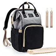Umsimples Diaper Bag Maternity Nappy Bag Backpack Waterproof Diaper Backpack Large Capacity Baby Bag for Mom&Dad with Diaper-Change Pad and Stroller Straps(Black and Grey)