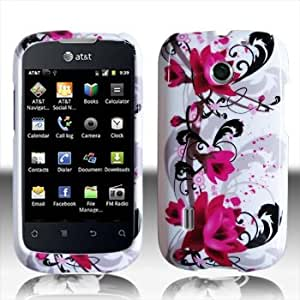 For AT&T Huawei Fusion Jengu U8652 Accessory - Red Flower Design Case Protector Cover + Lf Stylus Pen