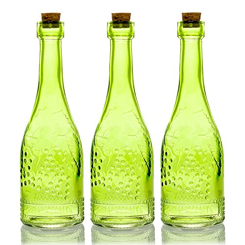 (Quasimoon PaperLanternStore.com Bulk Pack (3) Stella Green Vintage Glass Bottle Wedding Flower Vase)