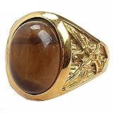 LILILEO Jewelry Gold Titanium Steel Retro Palace Brown Cat Eye Gem For Women's Ring Jewelry