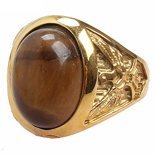 LILILEO Jewelry Gold Titanium Steel Retro Palace Brown Cat Eye Gem For Women's Ring Jewelry by LILILEO