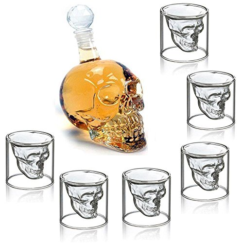 - Umiwe Creative Crystal Skull Head Decanter 550ml Glass Bottle Cup Drinkware with 6 Double-walled Glasses for Vodka, Whisky, Beer, Brandy, Liqueur, Juice, and Red Wine