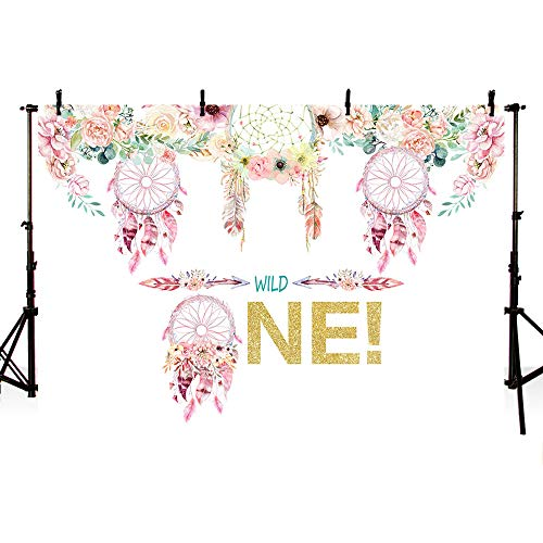 MEHOFOTO Boho Dreamcatcher Wild one Backdrop Rustic Princess First Birthday Baby Girl Baby Shower Photography Background Pink Floral Party Invitation Decorations Cake Table Banner 7x5ft ()