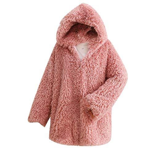 de sintética con de Chaqueta de capucha piel felpa con gruesa piel larga de cremallera de Pink mujer Ropa invierno Desgastar de Outwear Chaqueta Rcdxing abrigo con manga vnp7qfTI