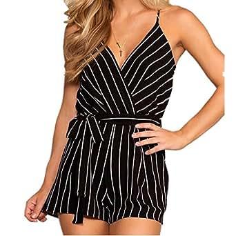 f0da43932223 Amazon.com  INIBUD Women s Romper Striped Sexy V-Neck Self-Tie Waist ...