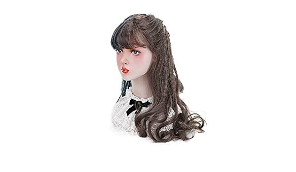 Amazon.com: Lolita Synthetic Long Curly Wig with Flat Bangs Natural Looking Brown Wavy Wigs for Women Cosplay Costume Party Daily Concert Halloween: Beauty