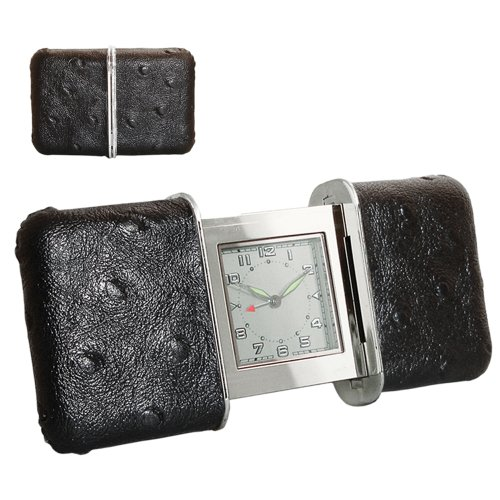 NATICO Slide Design Travel Alarm Clock in Black Leather (...