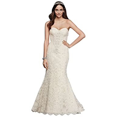 David\'s Bridal Petite Beaded Lace Trumpet Wedding Dress Style ...