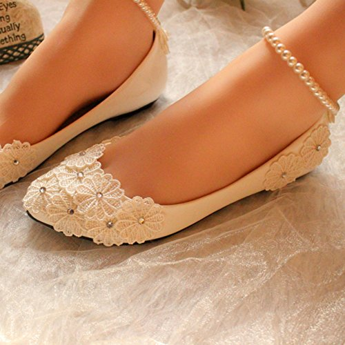 Flowers getmorebeauty Mary Jane Womens Beach Shoes With Pearls Flats Wedding aaSqr1x
